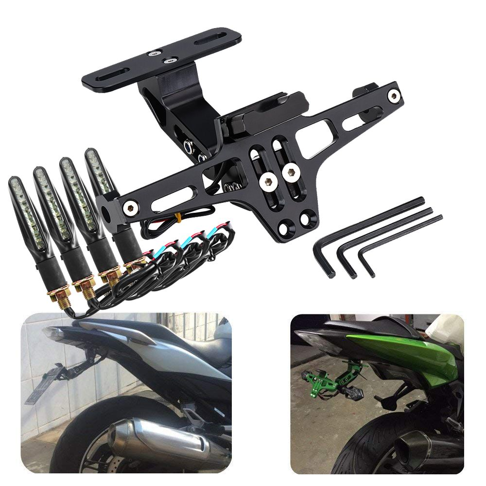 Universal Motorcycle Rear License Plate Mount Holder and Turn Signal Light For Honda For Kawasaki Z750 R3 Z800 R6 MT07 MT09 MT10