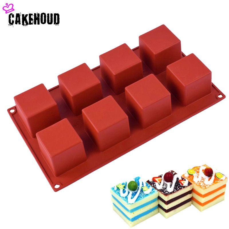 CAKEHOUD 8 trous Petit Carré 3D Forme Non-Bâton Silicone Gâteau Moule pour Cuisson DIY Jelly Muffin Mousse Glace-crèmes Chocolat Outil