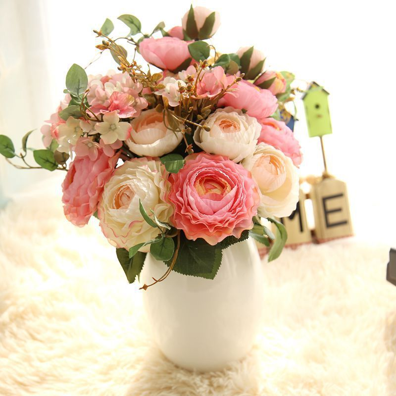 (9 heads/bunch) 2017 New.Silk / Simulation / Artificial flower Peony flower bouquet for wedding home decoration
