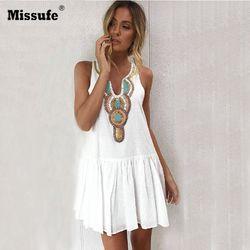Missufe Floral imprimir Vintage vestido de verano mujeres Casual V cuello Streetwear volver botón Boho túnica plisada Playa de las mujeres vestidos