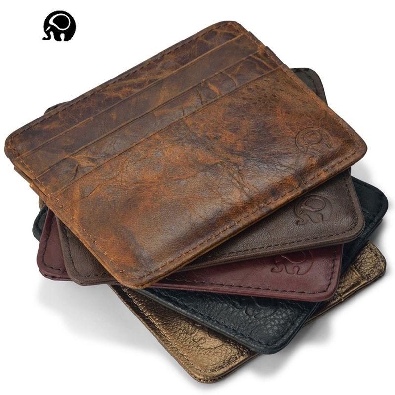 NEW Genuine Leather magic wallet Credit Cart Wallet mini slim wallet card & id holders man women business credit card holder