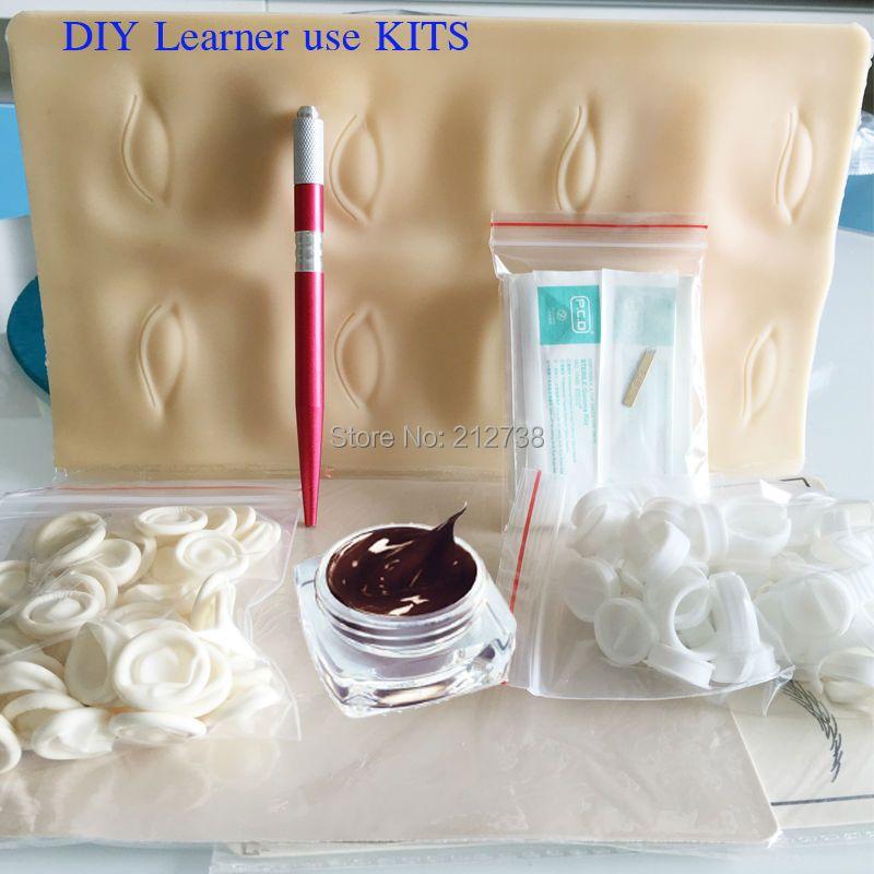 Livraison Gratuite Microblading Stylo KITS Manuel stylo pâte à sourcils kits avec 30 pcs aiguille lame 5 pcs peau de pratique Pour apprenant utiliser