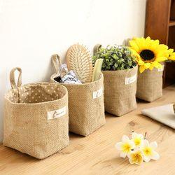 Gros Zakka style boîte de stockage de jute avec doublure en coton articles divers panier mini de bureau sac de rangement suspendu sacs 1 pcs/lot 60861