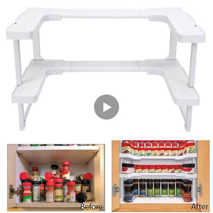 2 Layers Adjustable Spice Rack Countertop Organizer for Cabinet Storage Kitchen Spice Spice Rack Cabinet Cupboard Organizer