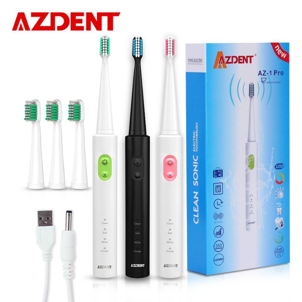 AZDENT Nouveau AZ-1 Pro Sonic Électrique Brosse À Dents Rechargeable USB Charge 4 pcs Remplaçable Têtes Minuterie Dents Dent Brosse Étanche