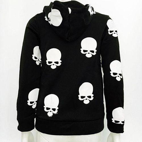Fashion Casual Women Skull Hooded Sweatshirt Long Zipper Pocket Coat Jacket
