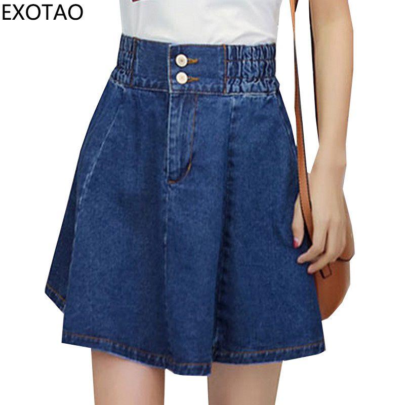 EXOTAO taille haute Mini Saias grande taille Denim jupes femmes 2017 été Streetwear Faldas a-ligne lâche Jupe nouvelle personnalité Jupe