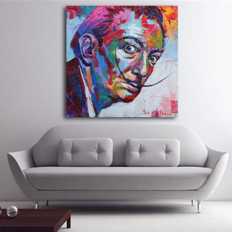 Salvador Dali Graffiti Pop Art Peinture À L'huile Visage Portrait Peinture Murale D'impression et Affiches Pour Le salon Décoration de La Maison