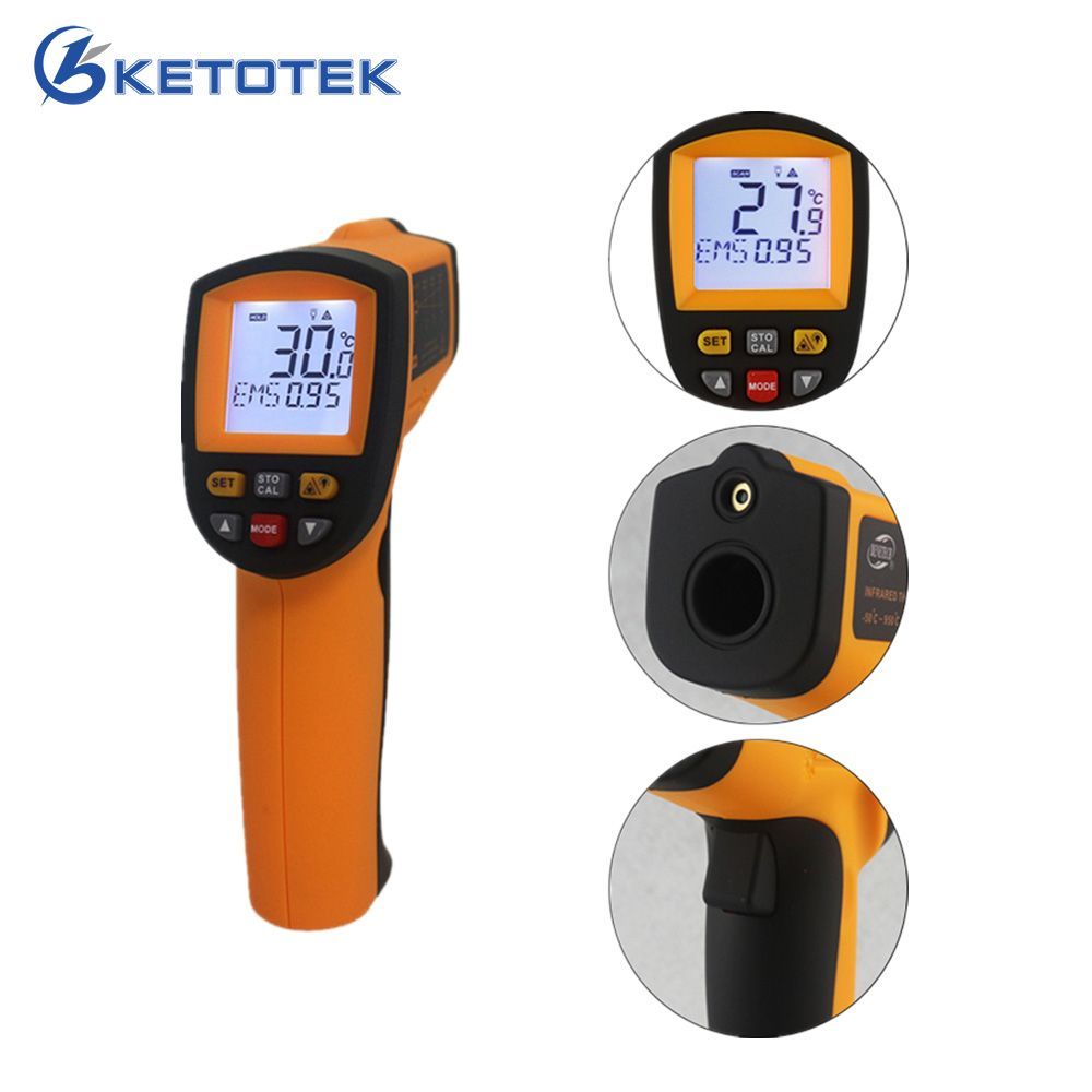 -50~900C -58~1652F Pyrometer 0.1~1EM Celsius IR Infrared <font><b>Thermometer</b></font> Non-Contact Free Shipping