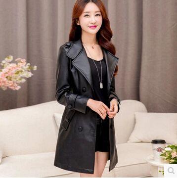 2016 Winter New Women brand leather coat fashion slim PU long leather Coat Jacket plus size 5XL Long Leather Trench Coat AE352