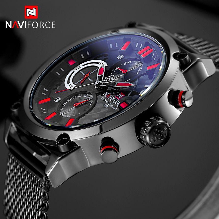 NAVIFORCE Brand Fashion Mesh Steel Mens Quartz Watch Men 24 Hour Date Clock Male Sport Military Wristwatches Relogio Masculino