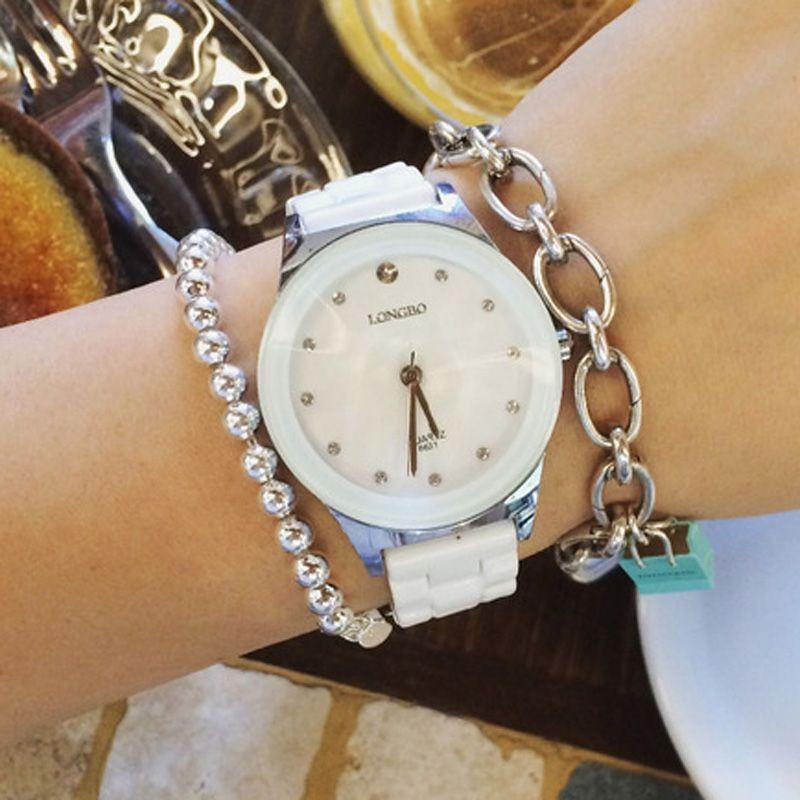 Longbo amante de cerámica rhineston Relojes de cuarzo mujeres hombres relojes Top marca de lujo casual reloj Relogio masculino feminino