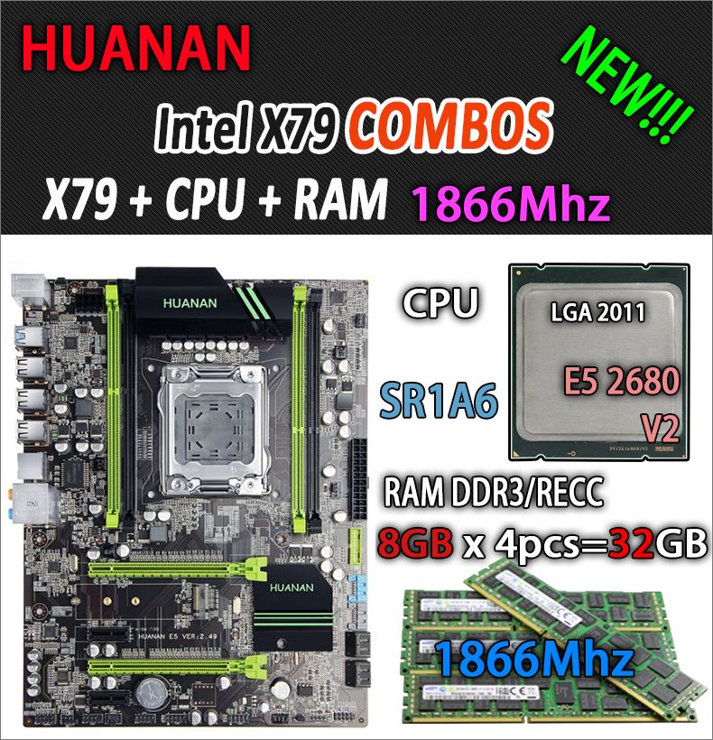 HUANAN golden V2.49 X79 motherboard LGA2011 ATX combos E5 2680 v2 SR1A6 4 x 8G 32GB 1866Mhz USB3.0 SATA3 PCI-E NVME M.2 SSD