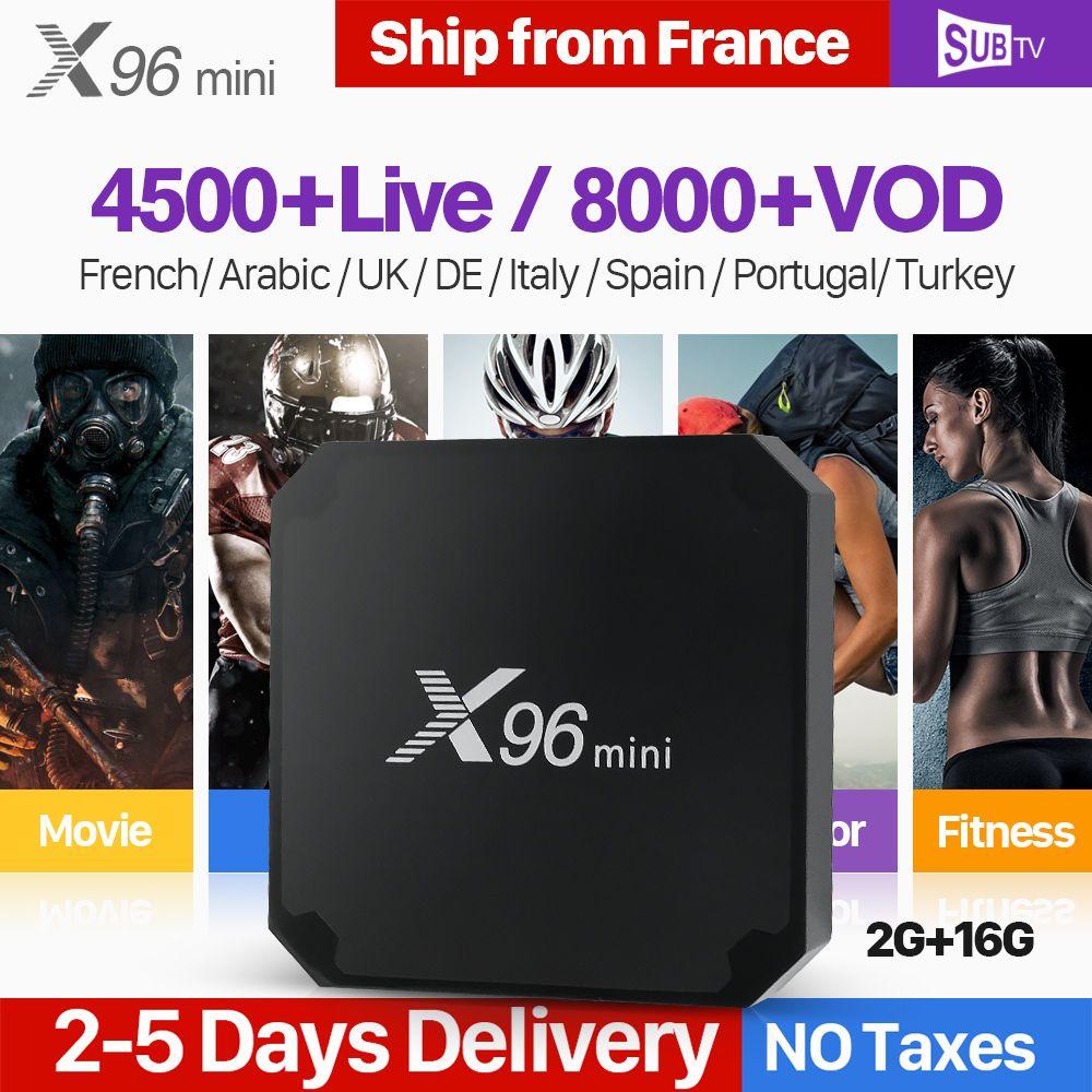 X96 mini Android 7.1 IPTV France Box 1 Year SUBTV Code Arabic French IPTV Box 2G 16G X96mini IP TV Box Belgium Turkish Portugal