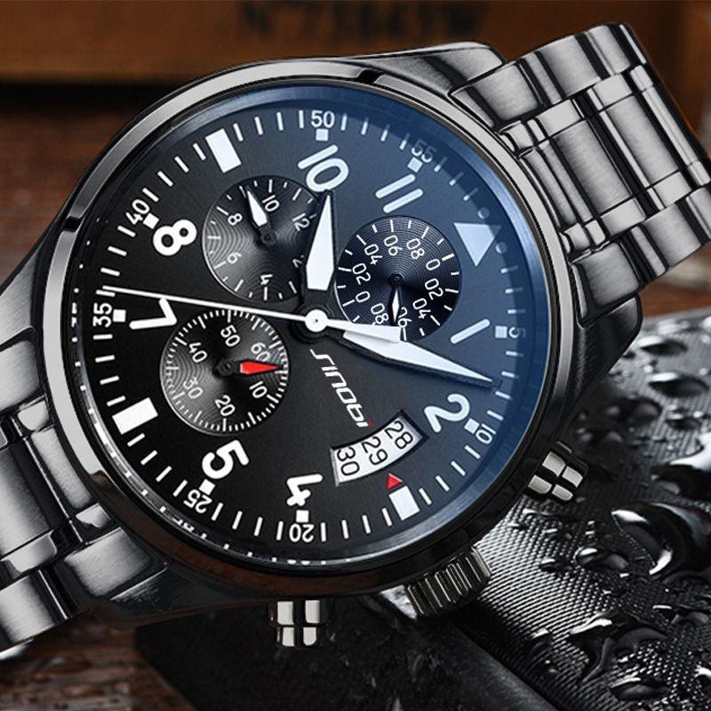 SINOBI montres hommes étanche en acier inoxydable de luxe pilote montres-bracelets chronographe Date Sport plongeur Montre à Quartz Montre Homme