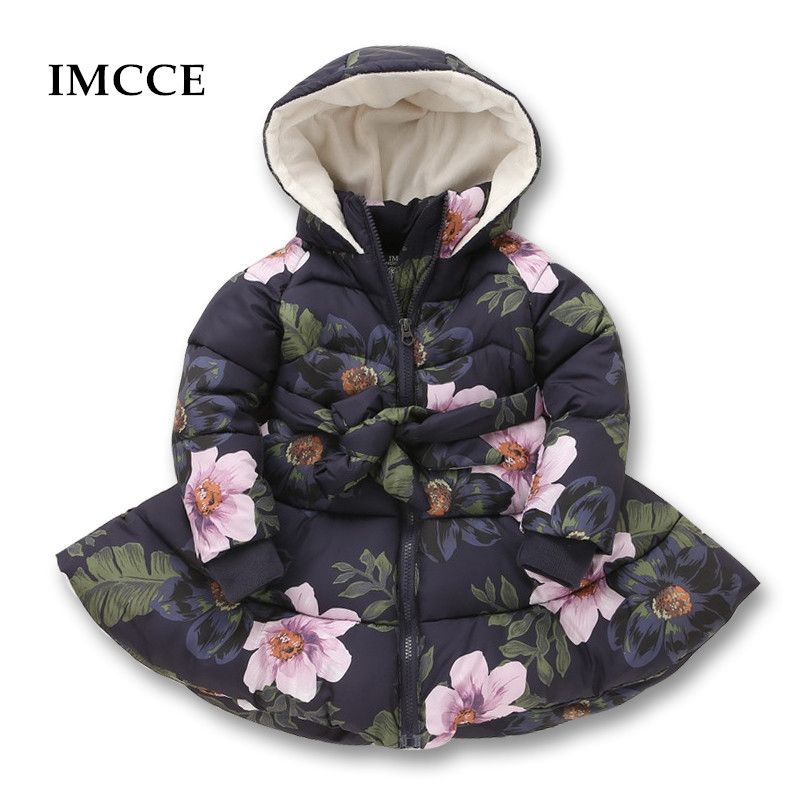 Winter Girls Hooded Jacket Printed Flowers Zipper Winter Coat For Girls Kids Padded Jacket Casual Children's Outerwear 2-9 yrs