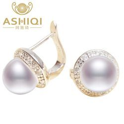 ASHIQI Genuine  Natural Freshwater pearl Stud earrings, Real 925 Sterling Silver jewelry for women wholesale