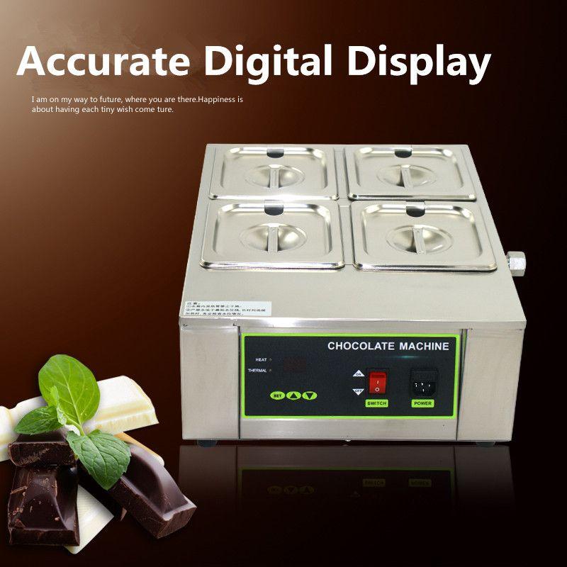 110V 220V Commercial Digital Electric 4 - Cylinder Chocolate Melt Furnace Melt Machine for Heating Hot Stove EU/AU/UK/US
