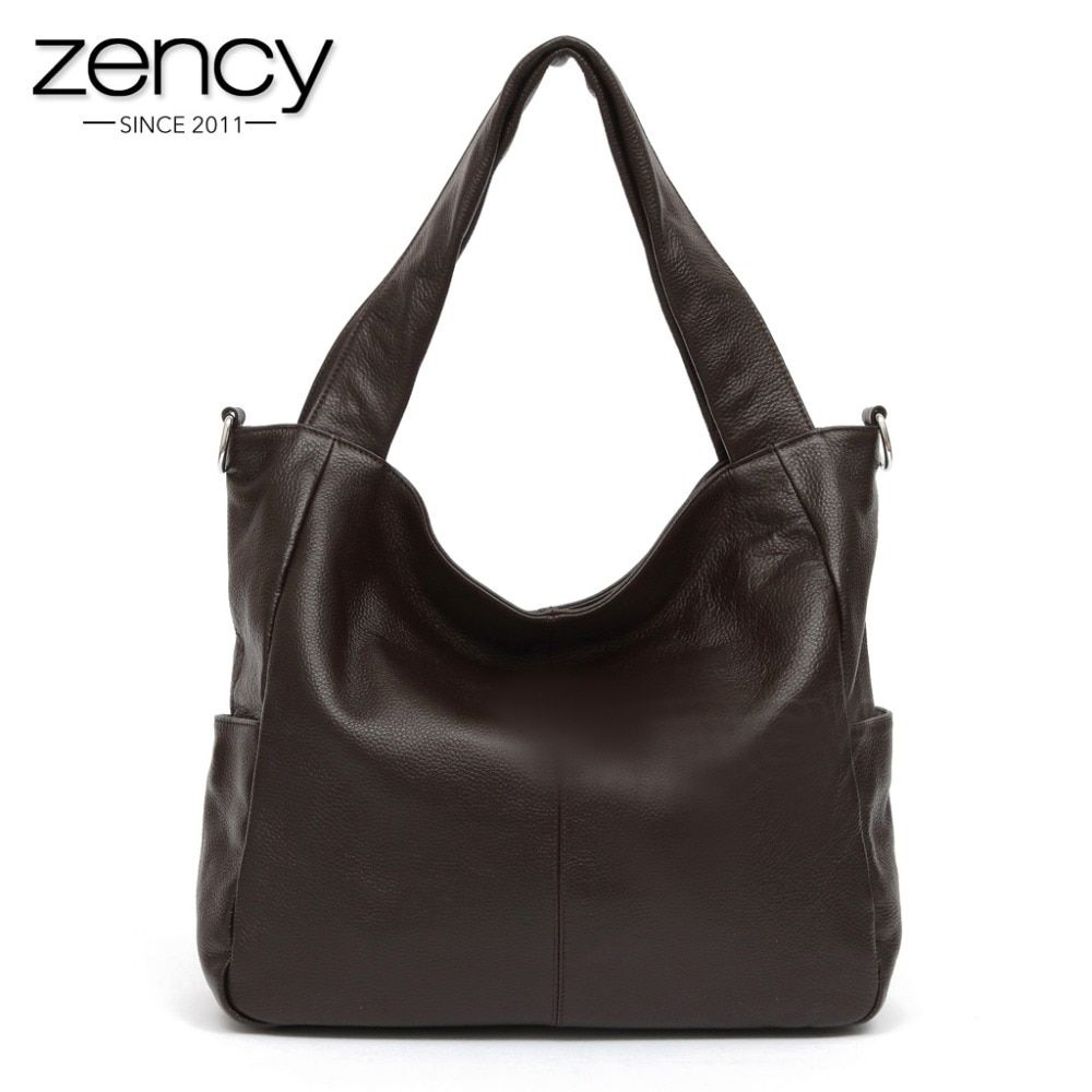 Zency Fashion Women Shoulder Bag 100% Genuine Leather Lady Crossbody Messenger Purse Satchel Tote Bags Coffee Black Handbag