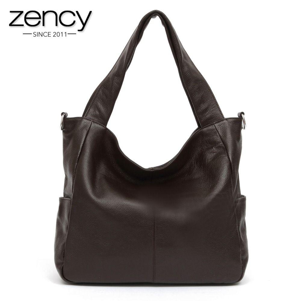 Zency Fashion Women Shoulder Bag 100% Genuine Leather Lady Crossbody Messenger Purse Satchel Tote Bags Coffee Black Handbag