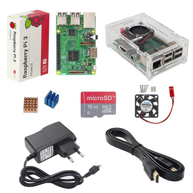 UK Made Raspberry Pi 3 Model B Starter Kit + Acrylic Case + 16G SD Card + Fan + Power Adapter + HDMI Cable + Heat Sink RPI 3