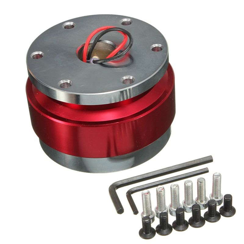 EDFY Universal Car Steering Wheel Quick Release Hub Adapter Snap Off Boss Kit Red