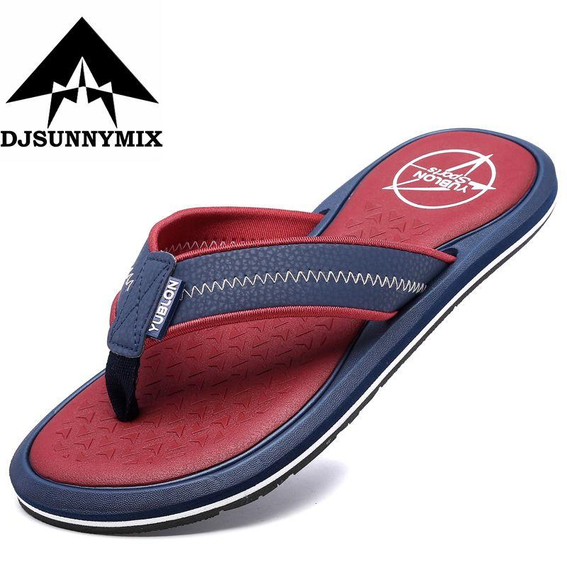 Djsunnymix verano al aire libre playa Sandalias Zapatos colisión color cuña plataforma Flip Flops hombres antideslizante Flip Flop fresco Zapatillas