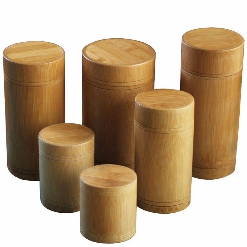 Main Boîte À Thé En Bambou Boîte De Rangement Boîte à Thé Joint Du Couvercle Jarres De Stockage De Cuisine Accessoires Spice Box Case Organisateur Gros