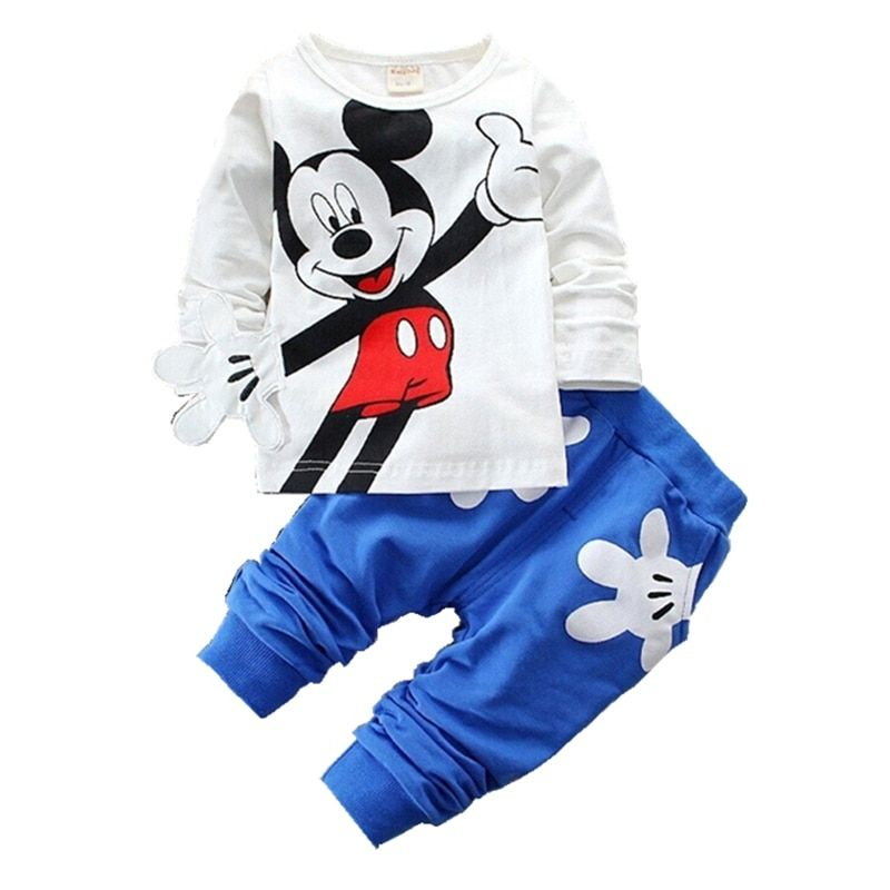 2019 enfants filles garçons marque ensemble de vêtements bébé printemps caractère coton à manches longues t-shirt pantalon costume enfants survêtement 0-4 ans