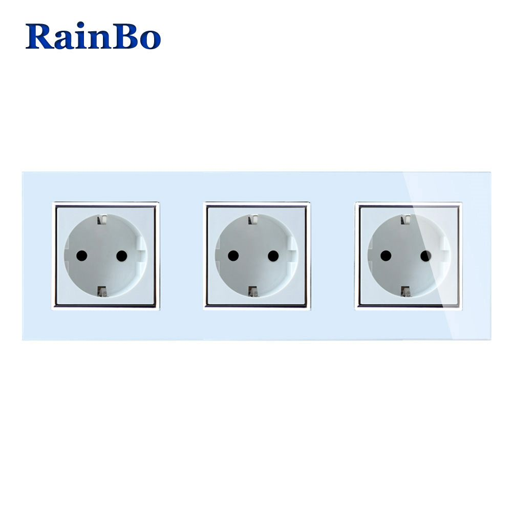 RainBo Brand Manufacturer Wall power Socket EU Standard Crystal Glass Panel AC 110~250V 16A 222*80mm Wall Socket A38E8E8EW/B