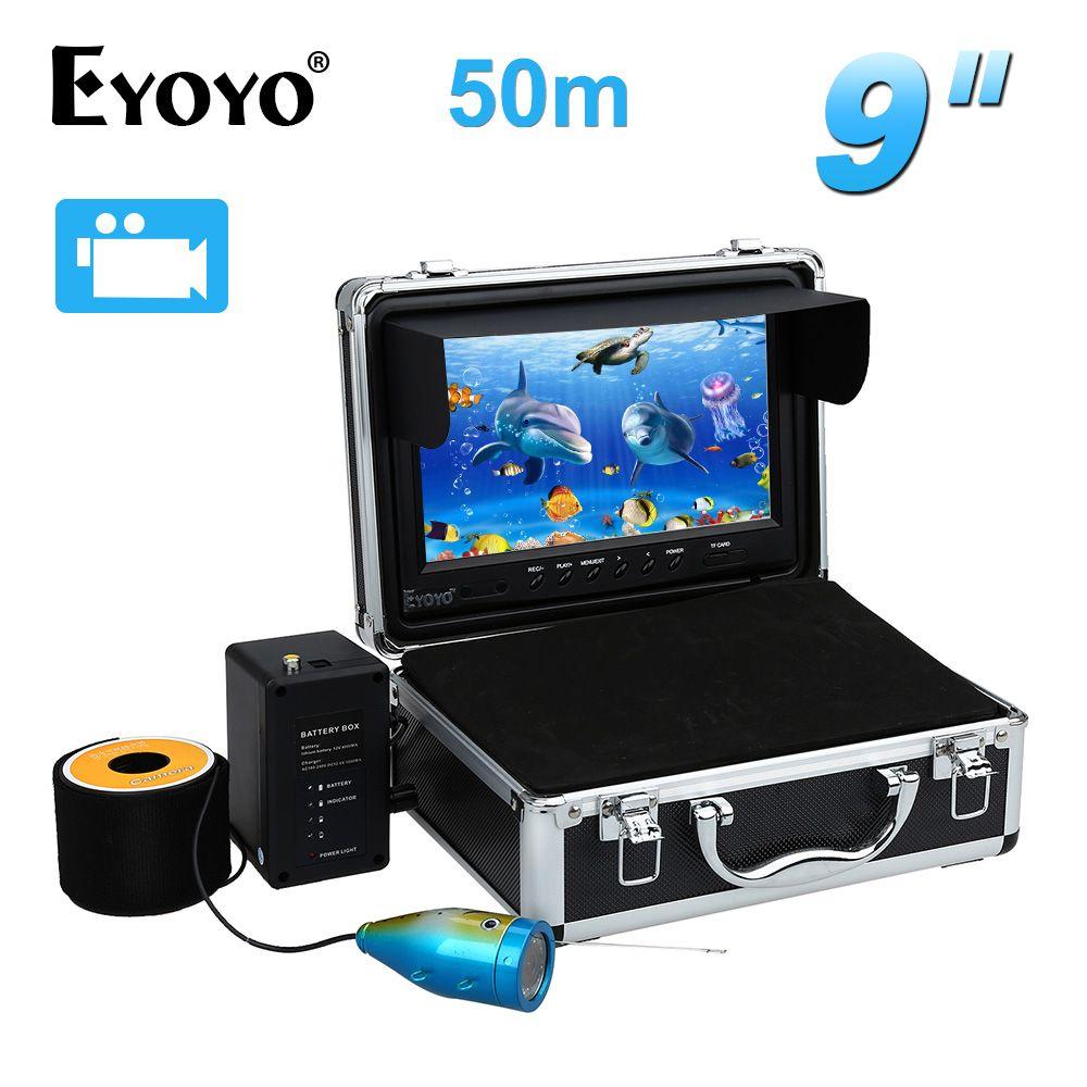 EYOYO 50 Mt Fisch-sucher 9 LCD 8 GB Unterwasser-videokamera w/DVR Funktion 12 stücke Weiß LED Justierbare Freies Sonnenblende