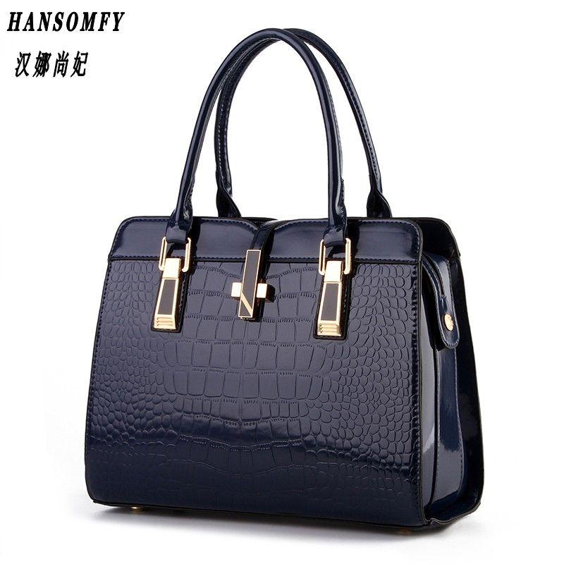 HNSF 100% Genuine leather Women handbag 2017 New bright patent leather crocodile pattern fashion shoulder shoulder ladies bags