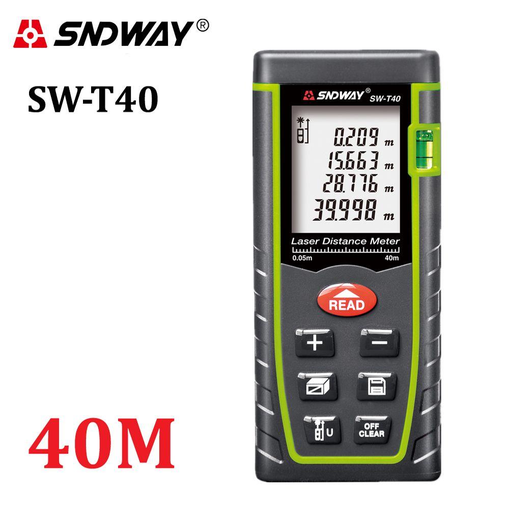 SNDWAY 40M Digital laser rangefinder 131ft handheld <font><b>distance</b></font> meter trena Laser range finder Area-volume-Angle tape measure tool