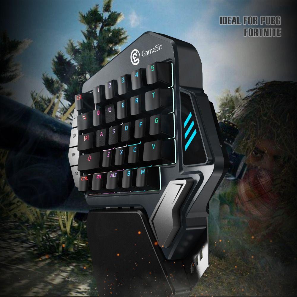 GameSir Z1 clavier de jeu pour jeux mobiles/PC AoV Mobile légendes FPS jeux une main bleu Switchs/Cherry MX rouge