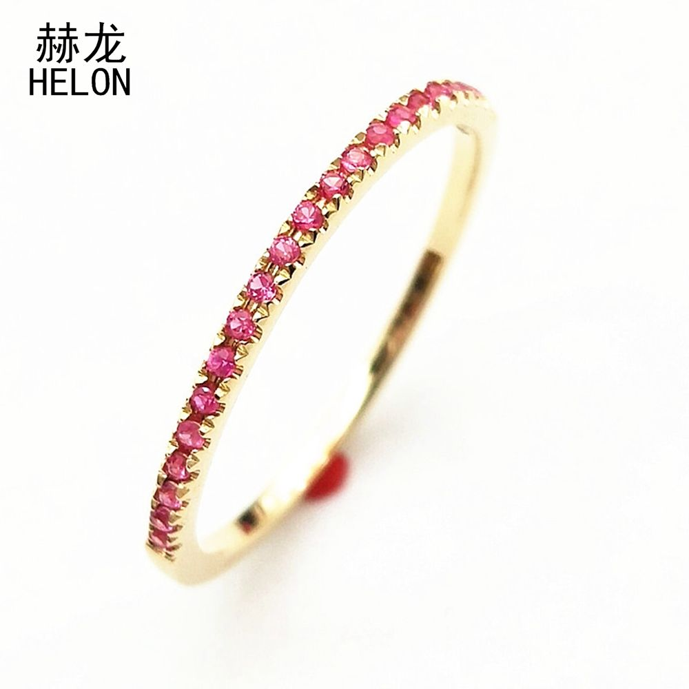 Stackable Pave Brilliant Genuine Pink sapphire Ring Solid 10K Yellow Gold Pink Sapphire Gemstone Anniversary Wedding Band Ring