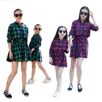 2017 family matching mother daughter dresses clothes plaid mom and daughter dress kids parent child outwear kids clothes 2-13 Y