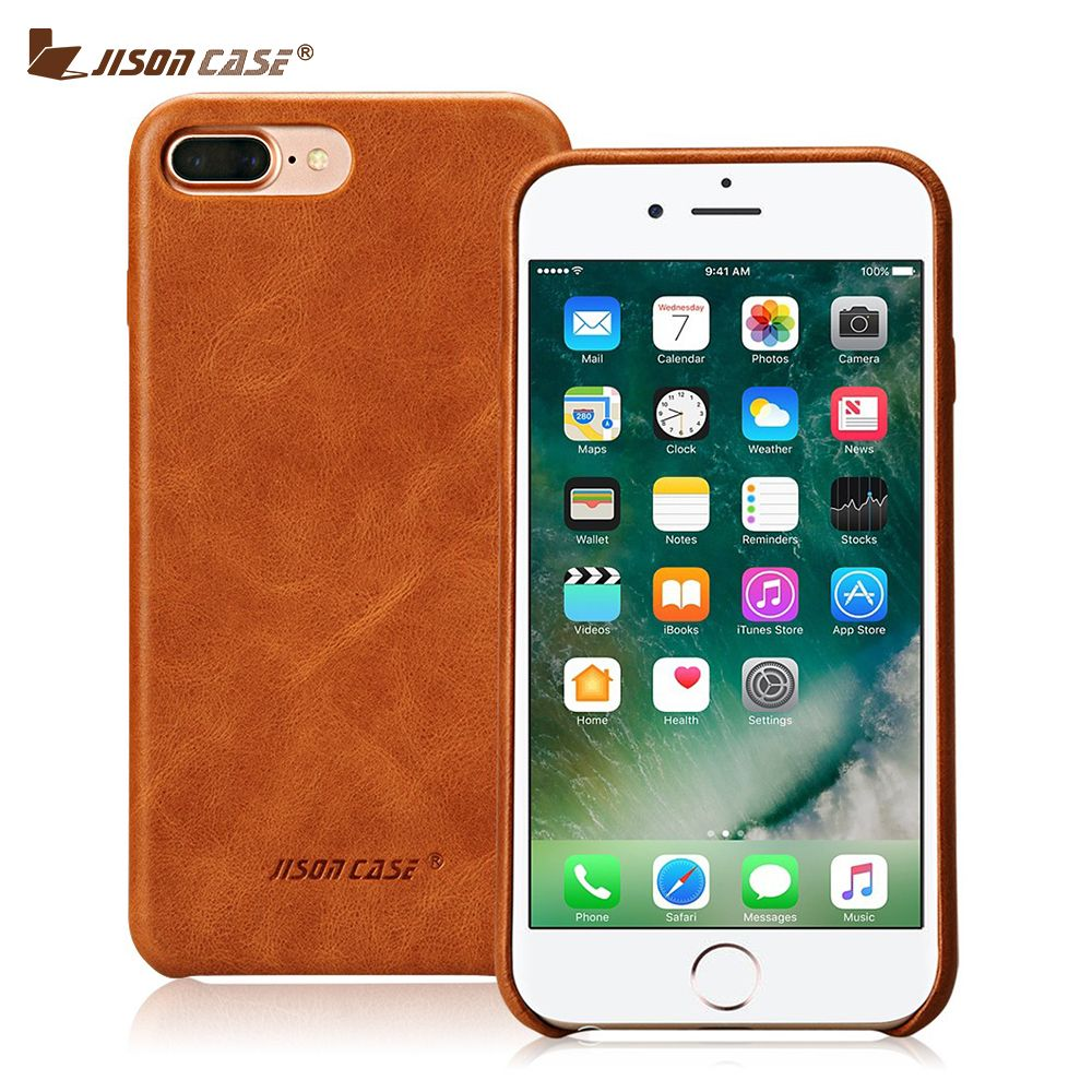 Jisoncase Genuine Leather Cover for iPhone 7 7 Plus Case Luxury Back Cover Slim Mobile Phone Case for iPhone 8 8 Plus Anti-knock