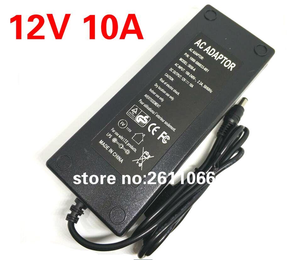 12V10A Nouveau AC 100 V-240 V Convertisseur Adaptateur d'alimentation DC 12 V 10A Alimentation UE/US/ROYAUME-UNI Plug DC 5.5*2.5mm LED lumière power adapte