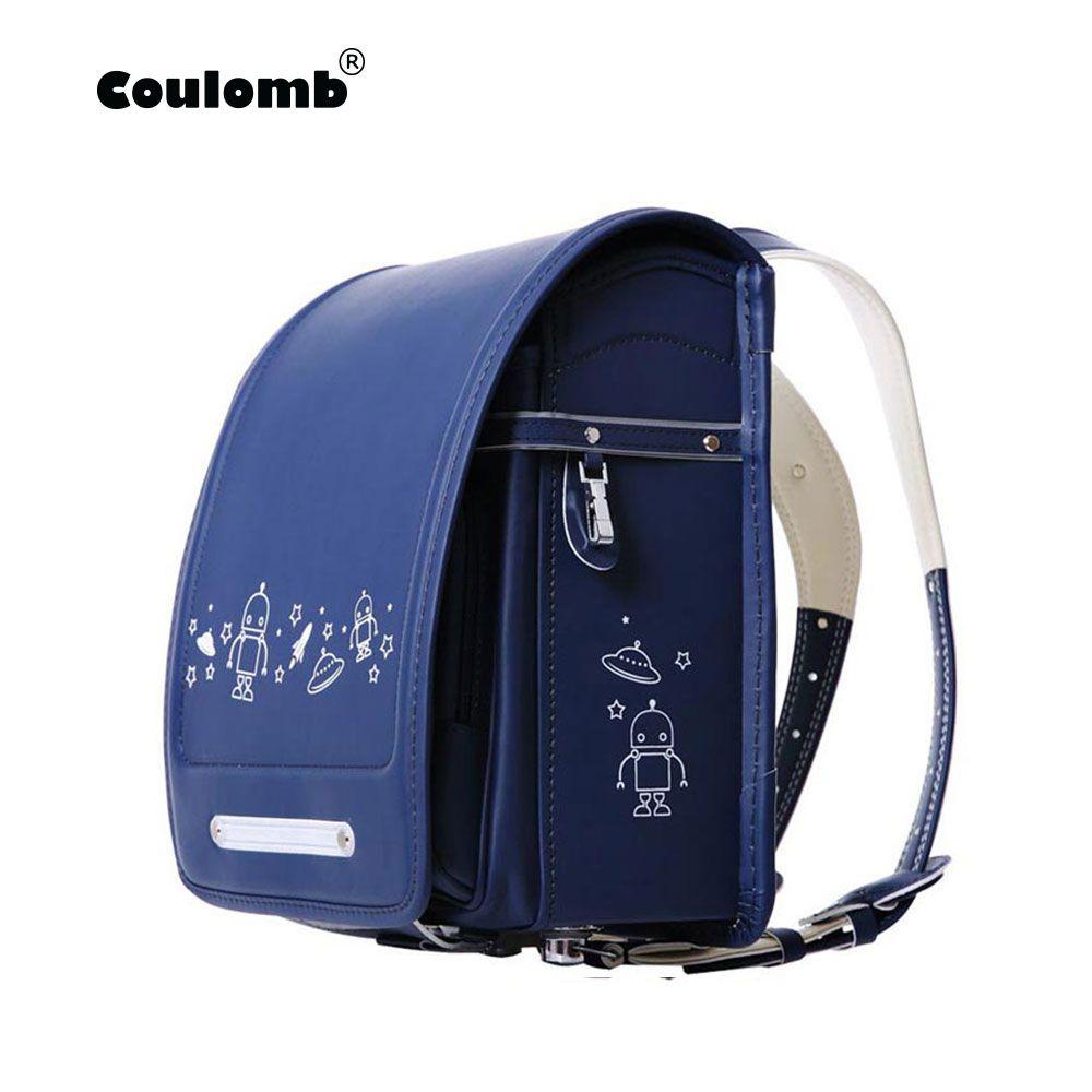 Sac à dos de caractère Coulomb pour garçons sacs d'école sacoche orthopédique UFO noir et bleu sacs d'étudiant en cuir PU pour sacs d'enfant bébé