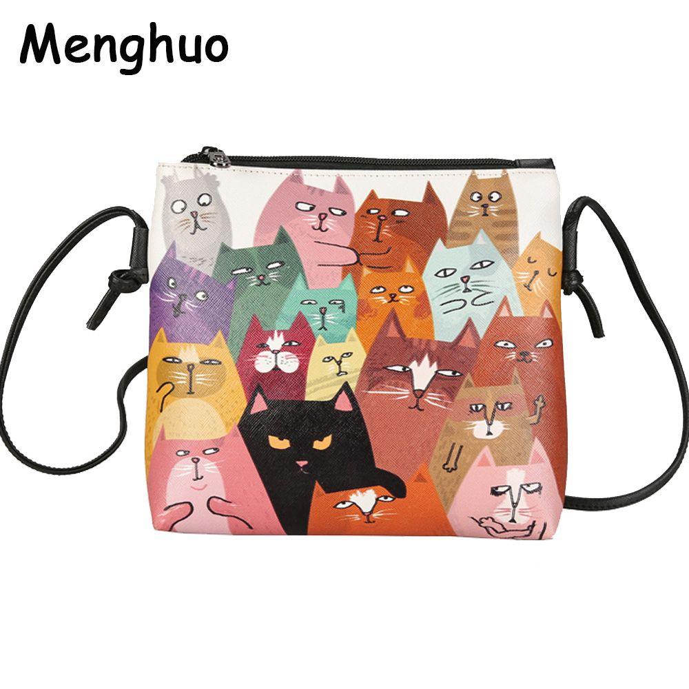 Menghuo 2017 Mini cuir femmes sacs à main mignon chat impression Messenger sac dames sac à bandoulière Cartoon pochette sac à main Bolsa Feminina