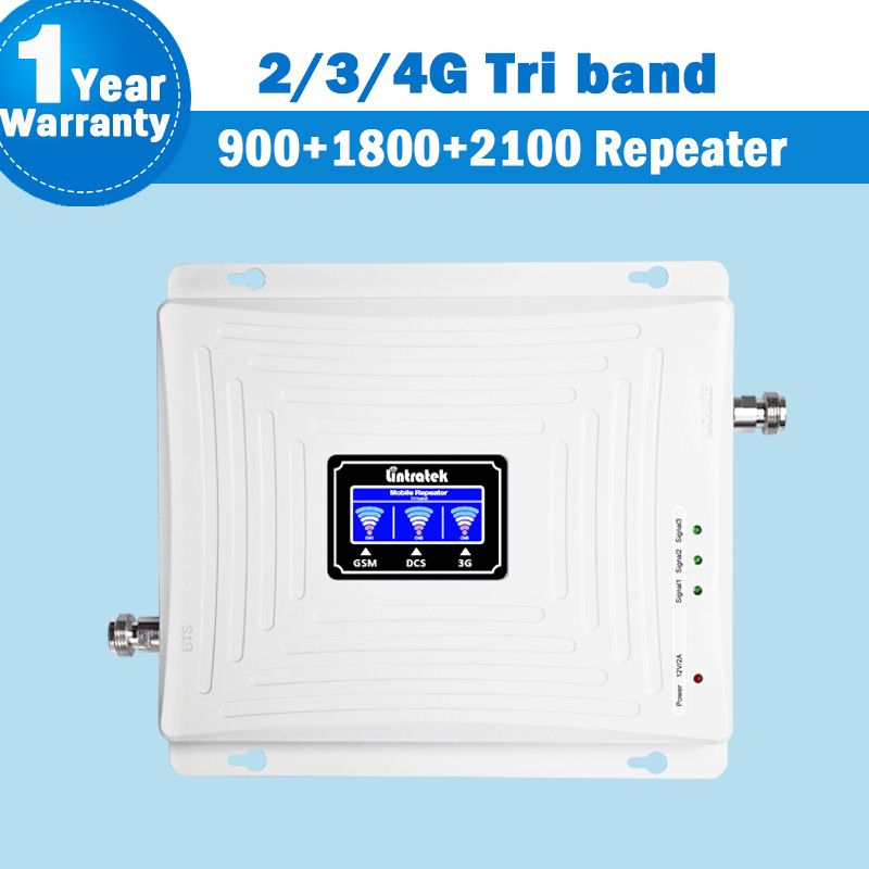 Lintratek NEW 2G 3G 4G Signal Tri Band Repeater Amplifier LCD Display 900/1800/2100MHz Booster Mobile Phone Cellular Signal S47