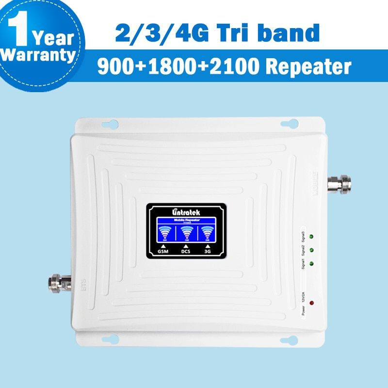 Lintratek NEW 2G 3G 4G Signal Tri Band Repeater Amplifier LCD Display 900/1800/2100MHz Booster Mobile Phone Cellular Signal S48