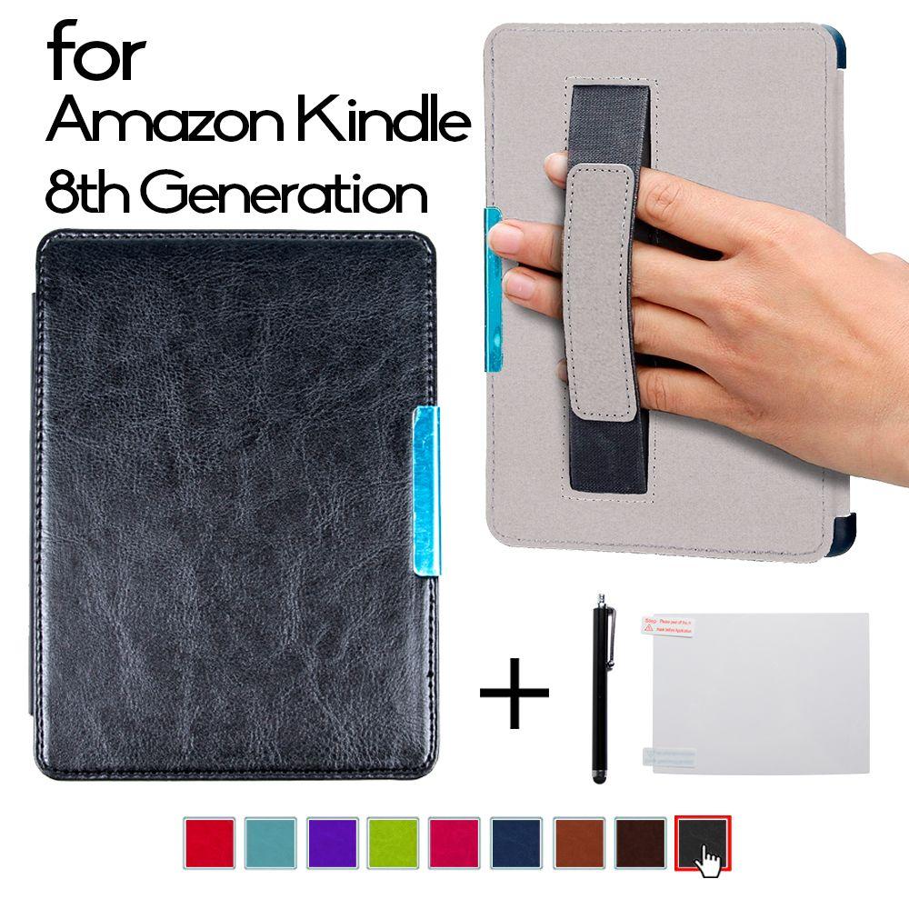 Aimant Folio PU couverture en cuir smart cover case avec main grab pour 2016 Tout Nouveau Kindle (8e Génération 2016) couverture ereader cas