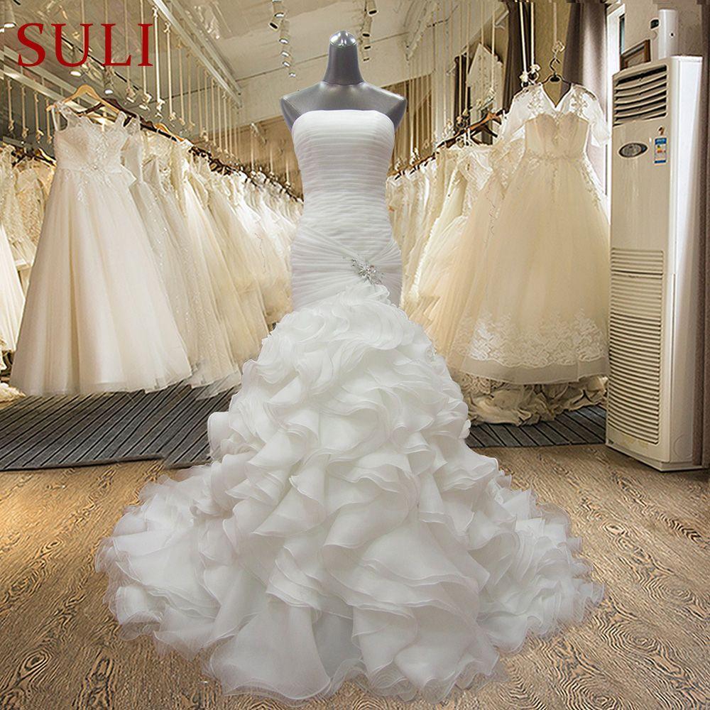 WDZ22 Strapless Mermaid Lace Up Off the shoulder Beading Sleeveless Noble Wedding Dresses