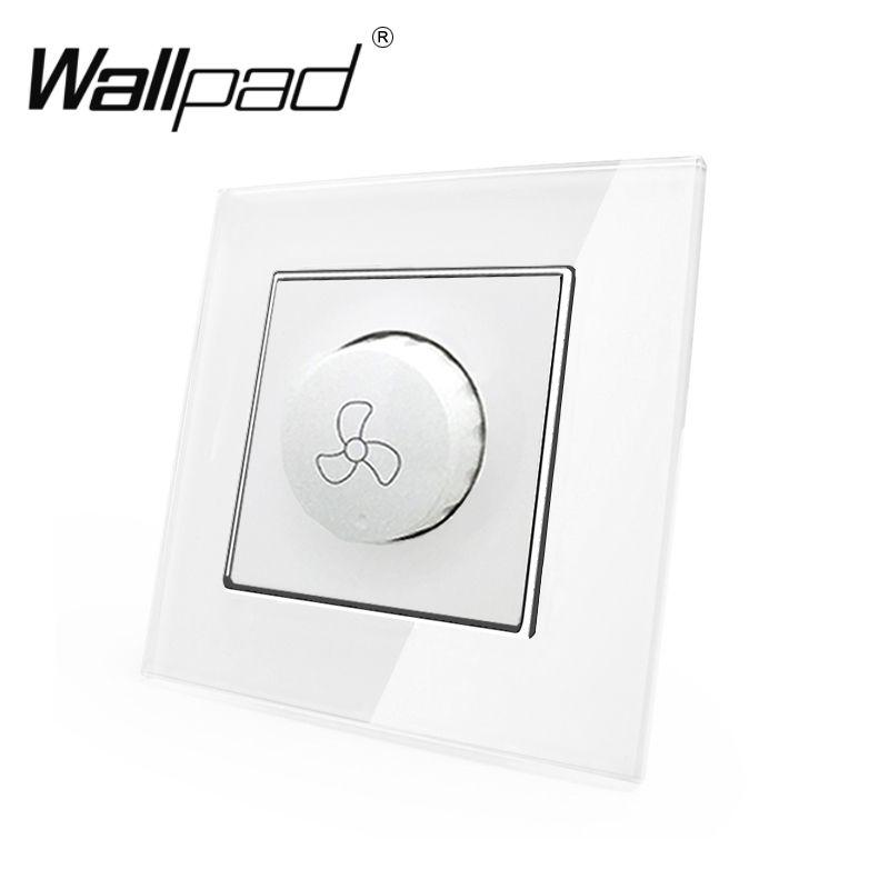 Interrupteur de vitesse de ventilateur Wallpad 110-250 v verre cristal blanc EU contrôleur de vitesse de ventilateur rotatif électrique européen 600 W interrupteur avec griffes