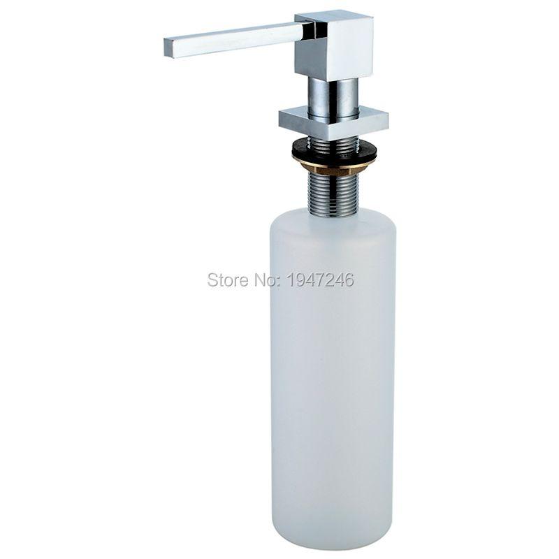 100% en laiton massif de haute qualité construit dans la pompe de montage de pont comptoir cuisine évier distributeur de savon ensemble avec pompe ABS et bouteille 10 Oz