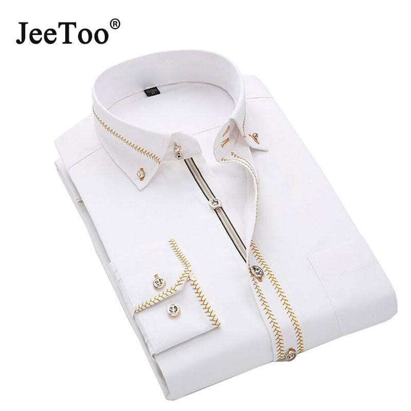 Mens Shirts Long Sleeve 2017 Male Tuxedo Shirt Cotton Mens Dress Shirts Slim Fit White Black Wedding Shirt Men Chemise Homme 5XL