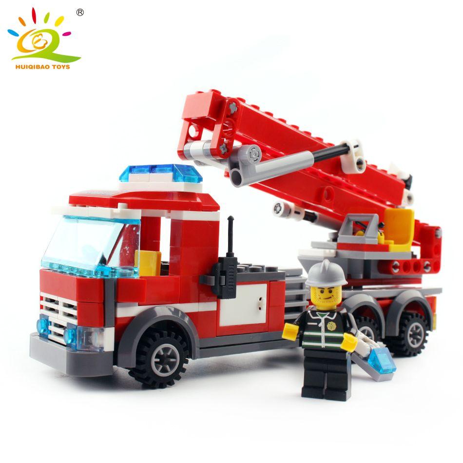 244 pièces de lutte contre les incendies échelle camion de pompier Pompier Compatible avec légèreté ville blocs de construction jouets éducatifs briques diy Pour enfants