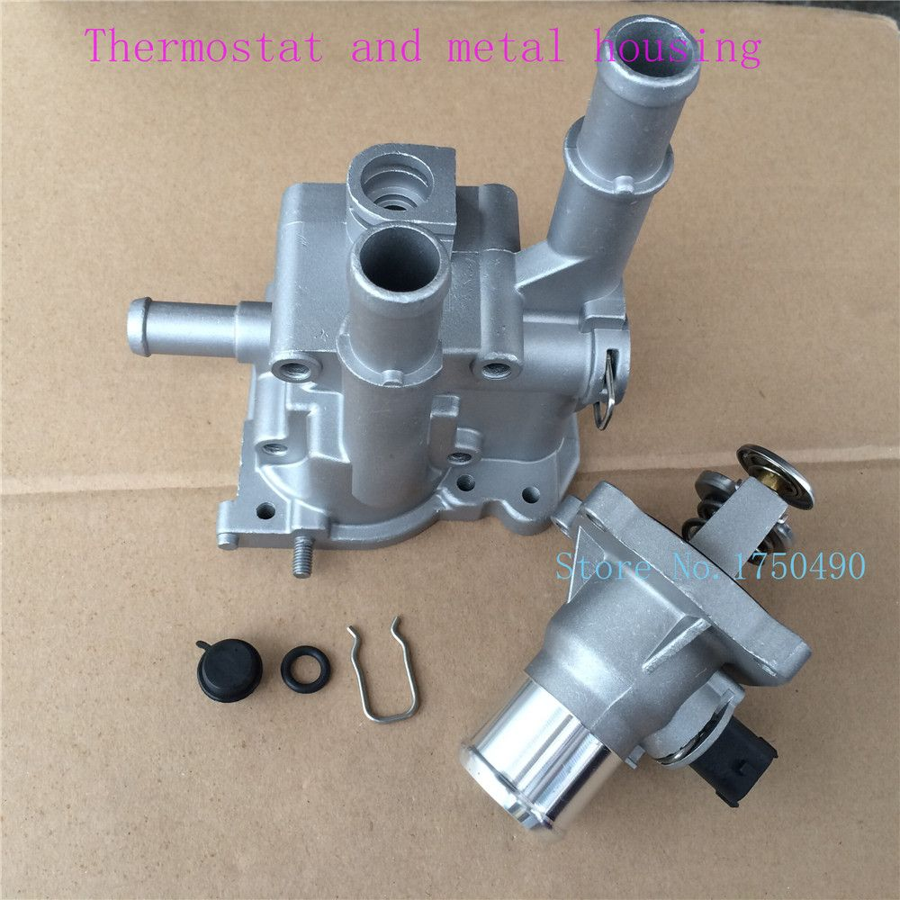 Aluminum Thermostat and housing Assembly metal case 96984103 96984104 for Opel Astra Zafira Signum Vectra Chevrolet Aveo Cruze