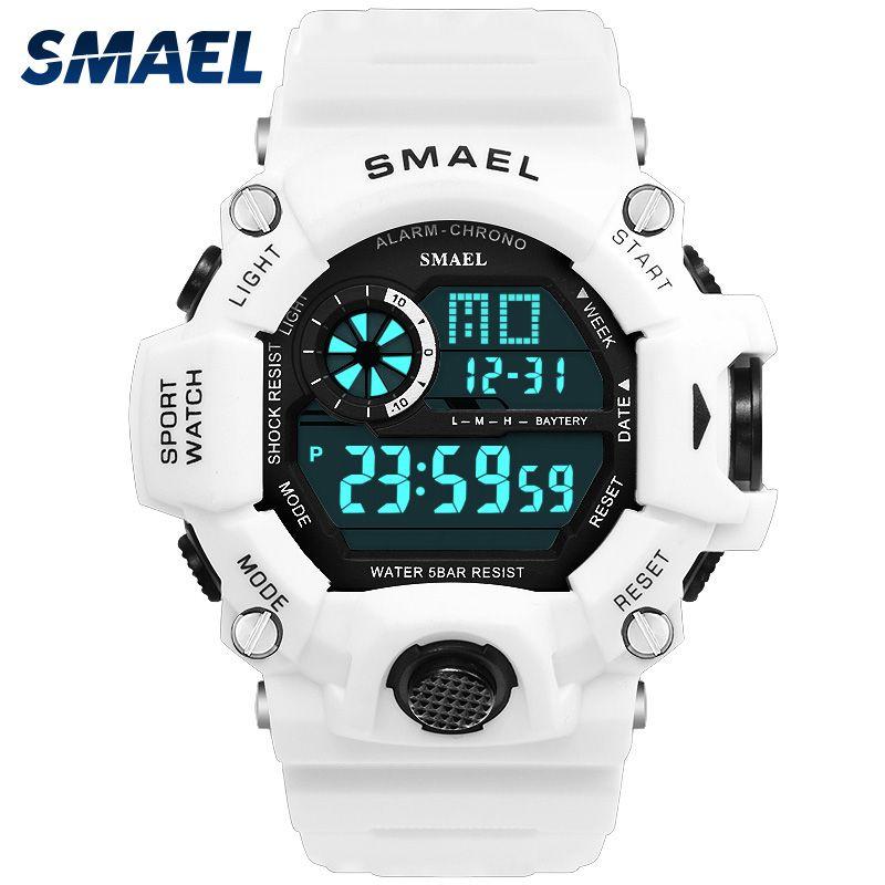 Sport Quarz Digitale Uhren Männliche Uhr SMAEL Sport Uhr für Männer Wasserdichte Uhren Hombre1385C Weiß Digital Military Uhren